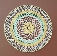 Yellow Pinwheel, Flowers, Leaves Crochet Doily Wall Hanging Dream Catcher 10 in.