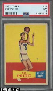 "1957 Topps Basketball #24 Bob Pettit Hawks RC Rookie HOF PSA 7 "" LOOKS NICER """