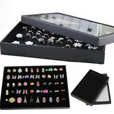 Women Ring Show Case Jewellery Display Storage Box Tray Earring Holder Organiser