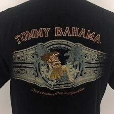 TOMMY BAHAMA Just another Day Paradise Silk Panelback Cigar Band Shirt Medium M
