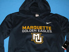 NWT NIKE Therma-Fit MARQUETTE GOLDEN EAGLES Sweatshirt HOODY Men Size L Black