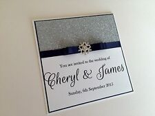 Personalised Glitter Snowflake Winter Wedding Invitations - Any Colour