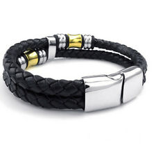 Genuine Leather With Stainless Steel Mens Chain Bracelet Bangle Fashion Gifts
