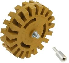 Decal Removal Eraser Wheel w/ Power Drill Arbor Adapter 4 inch Rubber Pinstripe
