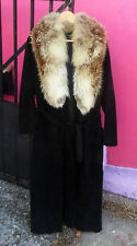 Vintage 70's BEGED-OR Quilted Black Suede COAT w/ Fox Fur Collar, US Size 10 M-L