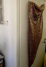 Stunning Rose Gold Sequined Evening Dress Size 14