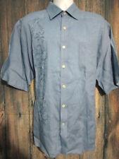 Nat Nast Embroidered 100% Linen Blue Button Front Short Sleeve Shirt Mens Sz XL