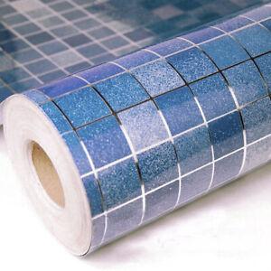 "78"" Blue Mosaic Self Adhesive Wall Stickers Oil Proof Waterproof Kitchen Decor"