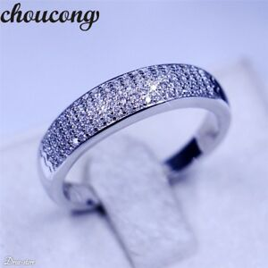 925 Sterling Silver Women's CZ Pave Engagement Anniversary Wedding Band Ring