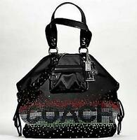 NEW COACH LIMITED ED BLACK POPPY RHINESTONE FASHION XL SPOTLIGHT TOTE BAG PURSE