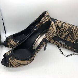 Bourne Peep Toe Stiletto Shoe, Matching Bag Satin Tiger Stripe Clutch Animal 7.5