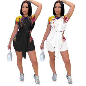 Fashion Women Short Sleeve Irregular T-shirt Printed Casual Short Pants Set 2pcs