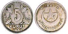 5 Kurus 1943 Turchia Turkey #6848