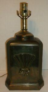 VINTAGE DESK LAMP CAST BRASS or BRONZE ART DECO RECTANGULAR STYLE NIGHTSTAND