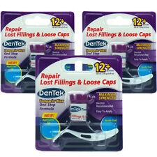 3x DenTek Temporary Dental Cement Tooth Filling Lost Fillings Repair Loose Caps