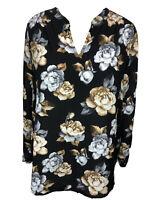 Charter Club 1X Black Gray Tan Floral Long Sleeve Tunic Top Blouse