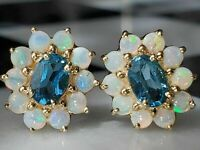 5CT Oval Cut Blue Topaz & Round Fire Opal Stud Earrings 14K Yellow Gold Finish