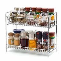 Chrome 2 Tier Spice Rack Packet Jar Holder Kitchen Storage Spices Herbs Stand UK