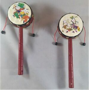 """2 Chinese Traditional Rattle Drums Classic Toys Noise Makers 2.5"""" x 1.5"""" x 7.75"""""""