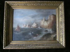 Old Antique Maritime The Needles Isle Of Wight Oil Painting Ornate Gilt Framed
