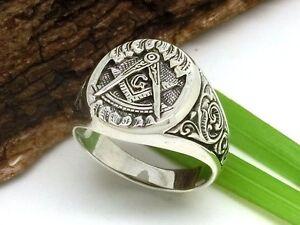 Freimaurer Siegelring 925 Silber Ring Tempelritter Winkel Zirkel Masonic Herren