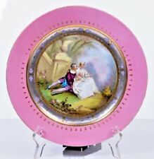 Antique Sevres Hand Painted Porcelain Plate Pink Border with Romantic Scene