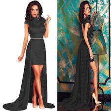Sz 8 10 Cap Sleeve Black Lace Halter Sexy Formal Cocktail Party Gown Long Dress