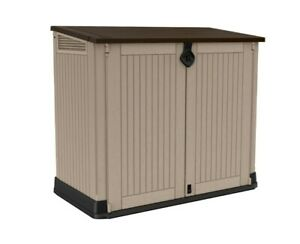 Keter Store-It-Out Midi Plastic Outdoor Garden Storage Shed Beige & Brown ✅