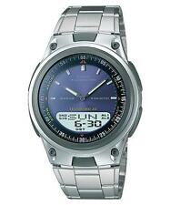 Casio AW-80D-2A Data Bank Analog Digital Blue Face Stainless Steel Watch AW-80