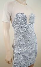 OPENING CEREMONY Black & White Geometric Print Sheer Detail Short Mini Dress SzM