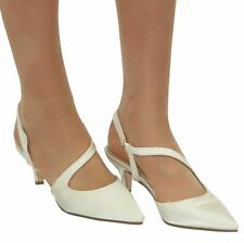 LADIES IVORY SATIN LOW HEEL SLING BACK STRAPPY POINTED TOE WEDDING BRIDAL SHOES