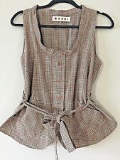 MARNI Authentic Beige Plaid Cotton Button Up Designer Belted Vest ITALY 44 M L