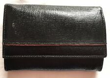 Black Leather Purse Wallet Stud Close Inside Clip Section ID Couns Notes