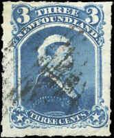 Used Canada Newfoundland 1877 F+ 3c Scott #39 Queen Victoria Stamp