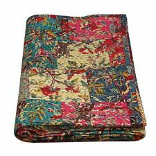 Multi coloured Quilt Daybed Cover King Handmade Hand Stitch Mix Patchwork Kantha