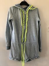 River Island Pale Blue Pom Pom Hooded Zip Up Beach Lounge Summer Playsuit XS