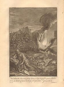 1770  ANTIQUE PRINT -BIBLE- AND WHEN THE SUN WAS GOING DOWN A DEEP SLEEP FELL UP
