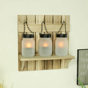 Set 3 wall mounted frosted glass mason jar tealight candle holders shelf sconce