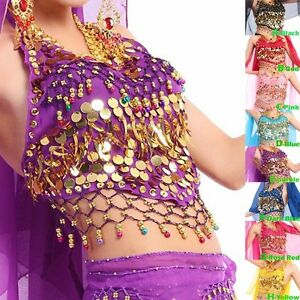 New Sexy Belly Dance Bra Top Chiffon Halloween Costume with Gold Coins 8 Colors