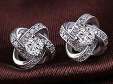 Neu Boucle d'oreille plaqué argent 925 Sterling Stud strass cristal blanc bijoux
