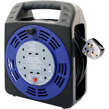 NEW 4 WAY 25M HEAVY DUTY CABLE 25 METER EXTENSION REEL LEAD MAINS SOCKET 13 AMP
