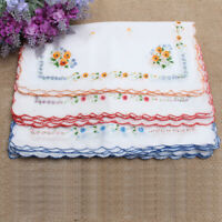 12 Pcs Girl Vintage Embroidered Cotton Hanky Handkerchief Floral Flower Pattern