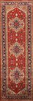 Geometric Indo Heriz Serapi Oriental Runner Rug Hand-knotted Wool 3'x10' Carpet