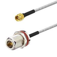 "10-Pack N Type Female Bulkhead to SMA Male .141"" RG402 Semi Rigid Cable 15cm"