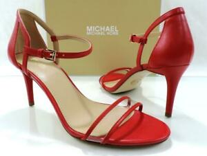 Michael Kors Simone Mid Heel Dress Sandal Ankle Strap Bright Red Size 7.5