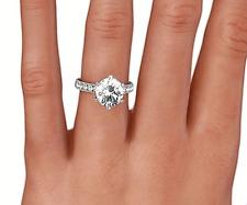 18K White Gold 2 Carat Diamond Women Solitaire Engagement RING G VS2 Round cut