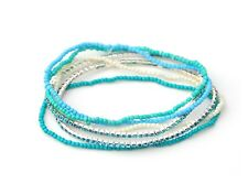 Multiple Colour Beaded Bracelet Elastic Stretchable Beads Crystals 6 Separate