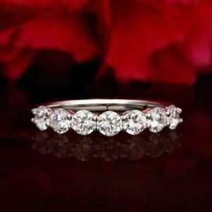 Brilliant Cut Moissanite 7 Stone Wedding Band Ring Solid 14k White Gold ssg-01