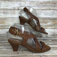 Franco Sarto 6M Vasca Brown Leather Casual Dress Sandal Buckle Block Heel Womens