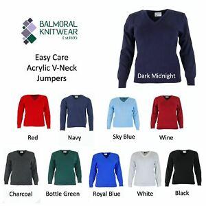 Balmoral Ladies V Neck Jumper Knitwear Warm Sweater Long Sleeve Knit Pullover